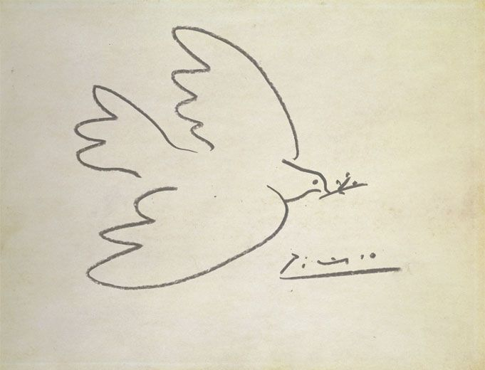 Picasso, Dove (1949) || I typically can't stand Picasso, to be honest, but this series is really lovely in its simplicity. While it may be difficult to arrive at peace, peace itself is not a complex feeling. It doesn't need much detail to evoke it.