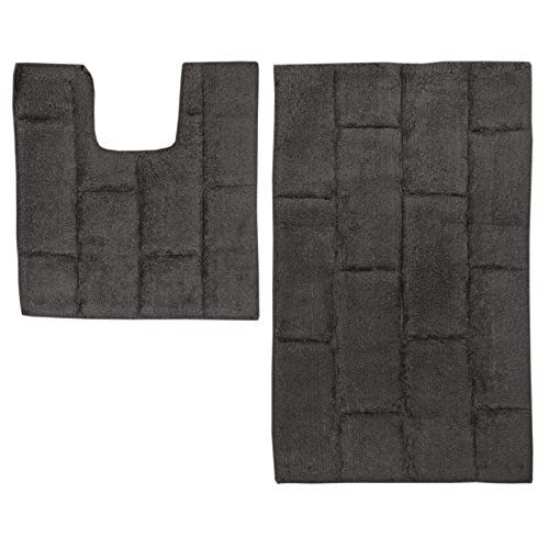 Just Contempo 2 Piece Cotton Bath and Pedestal Mat Set - Grey #Just #Contempo #Piece #Cotton #Bath #Pedestal #Grey