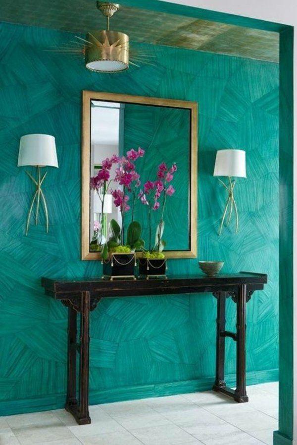 Wandfarbe Flur Wandspiegel Türkis Wandgestaltung Schminktisch