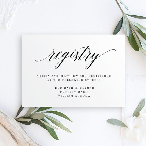 Registry Card Inserts Gift Registry Card Template Wedding Enclosure Card Template Invitation Enclosure Gift Registry Card Printables Vm51