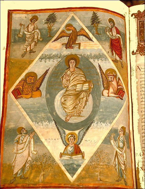 Biblia Grandval (830-840)  4 Frontispicis  3er: Crist en Majestat  TOURS