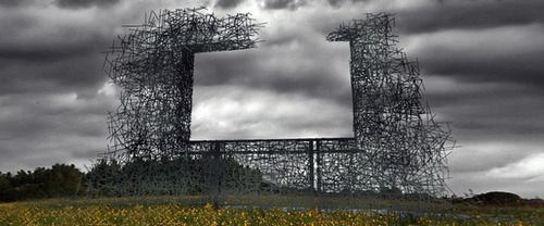 """ghost"" billboard on US-Canada border. by lead pencil studios: Art Studios, Negative Spaces, The Artists, Leaded Pencil, Pencil Studios, Non Signs Ii, Art Installations, Public Art, New Art"