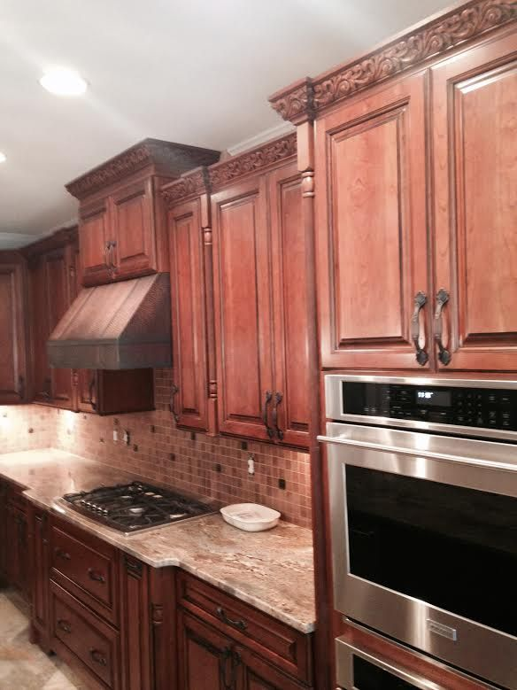 Kitchen Cabinet Kemper Cabinets Cherry Whiskey Black Cabinets Copper Hood Detailed