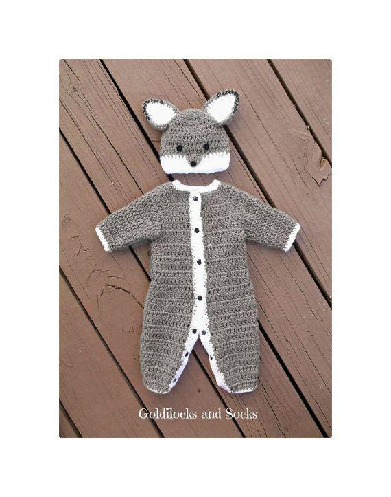 Baby wolf outfit newborn boy outfit grey by GoldilocksandSocks
