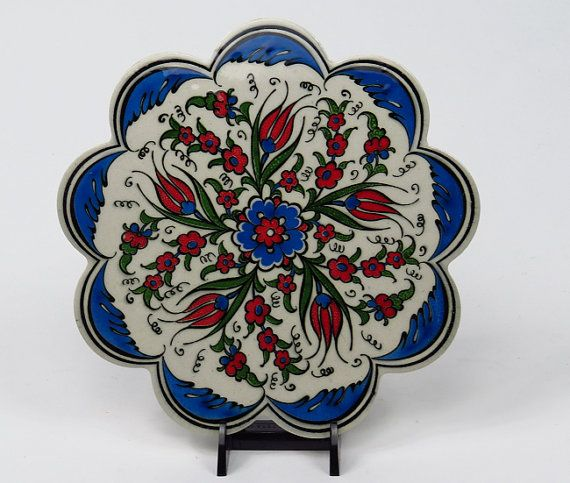 Handmade Ceramic Trivet-Turkish Ceramic by BeyondTheSeaUS on Etsy