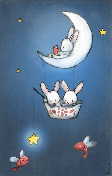 Les lapins dans la lune Art Print by Delphine Doreau | Society6