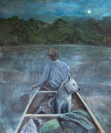 "Saatchi Art Artist An Chm; Painting, """"The Dog with a Girl in a boat"""" #art"