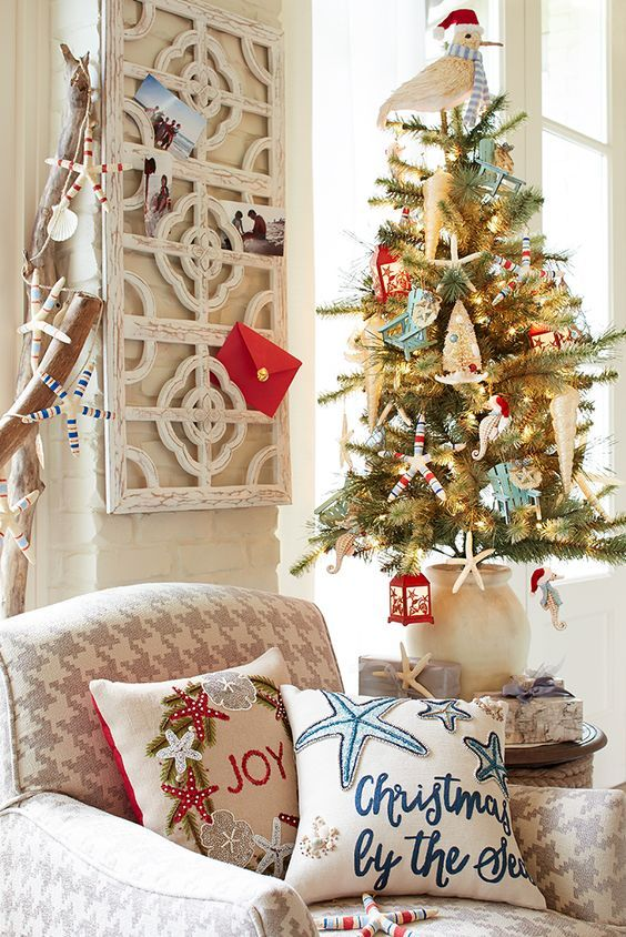 Sea & Sand Christmas! Beach Christmas Decor from Pier 1. Featured on Beach Bliss Designs:  http://www.beachblissdesigns.com/2016/11/beach-christmas-tree-decorations.html Cute Ornaments for the Tree and Pillows with Words and Sayings.