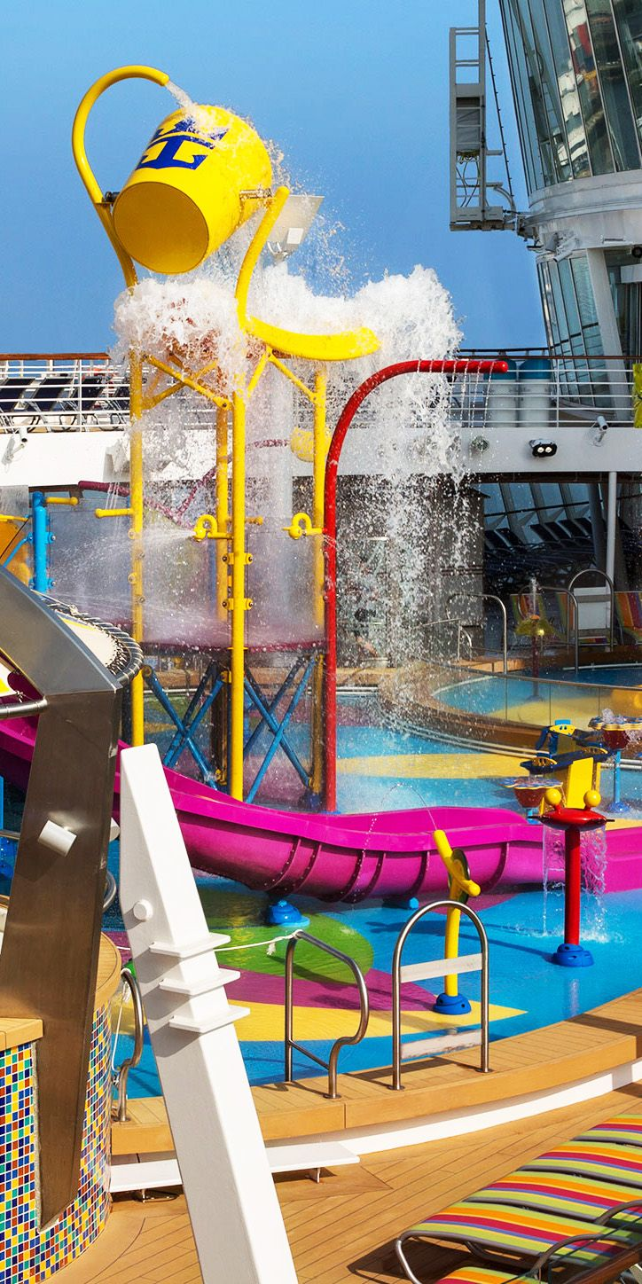 Harmony of the Seas   The largest cruise liner in the world deserves a water park to match. Splashaway Bay, Royal Caribbean's largest splash park yet, features slides, waterfalls, and a splash zone that's fun for all ages.