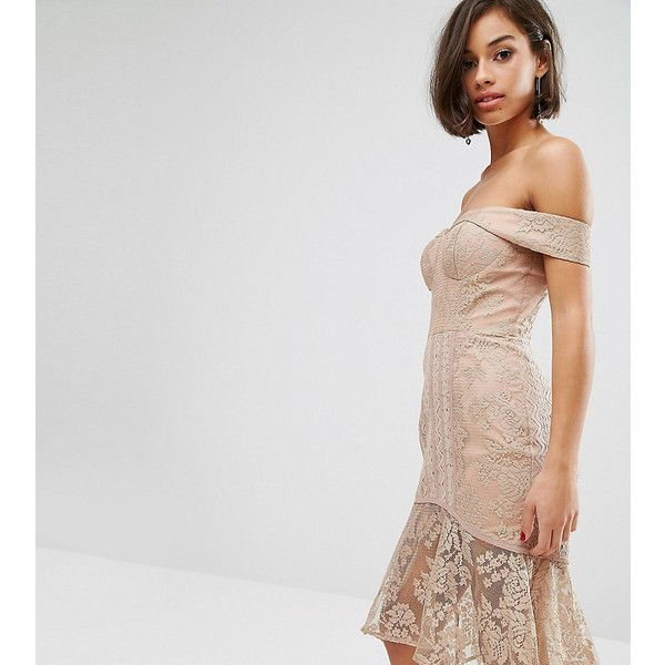 Jarlo Petite Off Shoulder Allover Lace Pencil Dress ($43) ❤ liked on Polyvore featuring dresses, beige, petite, off-the-shoulder lace dresses, maxi dresses, petite length maxi dresses, petite maxi dresses and lace maxi dress