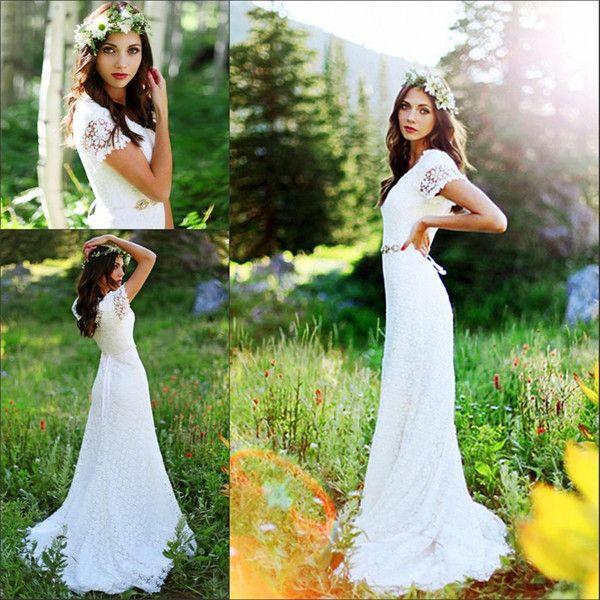 Cap Sleeve Crochet Lace Bohemian Country 2017 A Line Bridal Gowns Modest Beach