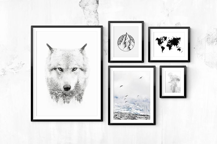 Black and white poster with a photograph of a wolf. Goes well with Nordic-style décor, either by itself or combined with some of our other black and white posters in a wall collage.