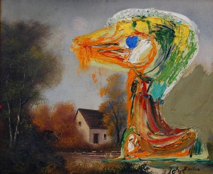 Asger Jorn, detourned painting, oil paint on found painting.