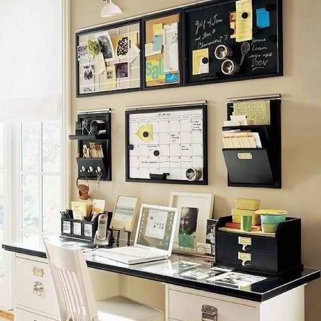 Desk Idea - almost too organized...km, what about 2 file cabinets with top on top of them?