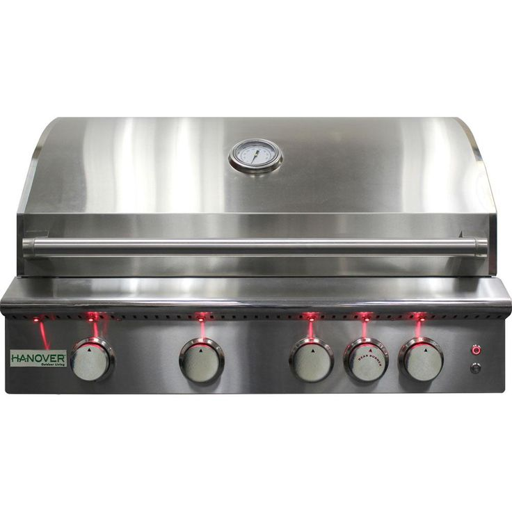 Hanover 5-Burner Built-In Propane Gas Grill in Stainless Steel (Silver) with Rear Infrared Burner