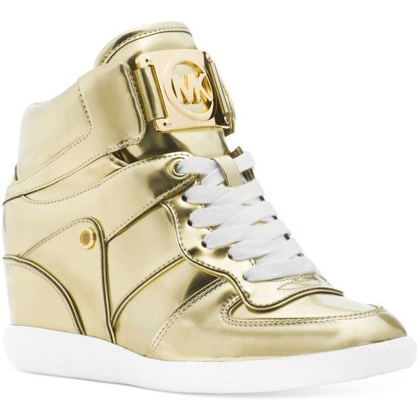Michael Michael Kors Nikko Lace-Up High-Top Wedge Sneakers ($195) ❤ liked on Polyvore featuring shoes, sneakers, pale gold, metallic wedge sneakers, gold high tops, wedged sneakers, gold sneakers and hidden wedge heel sneakers