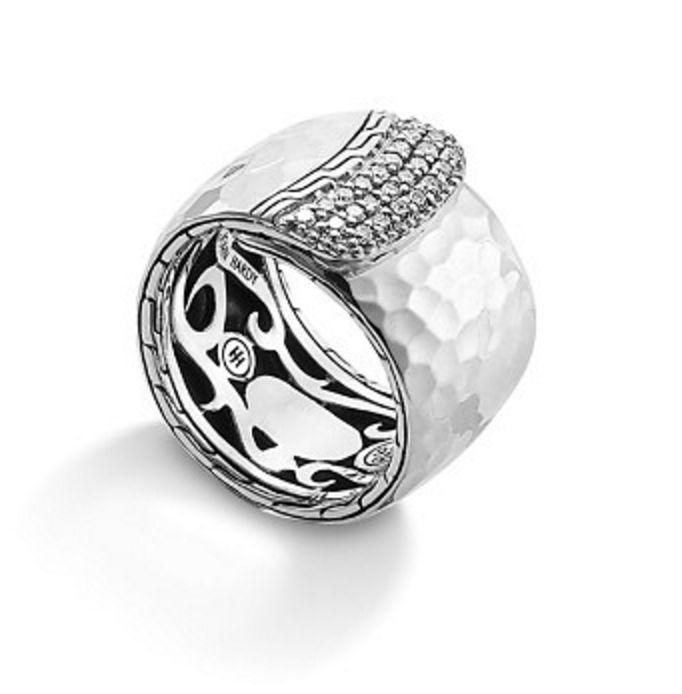 John Hardy Sterling Silver Ring Diamond Pavé Overlap Palu Band Size 7 NWT $895 #JohnHardy #023
