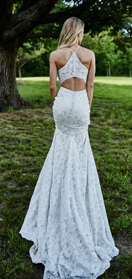 Mariana wedding dress by Kelly Faetanini // Lace halter fit-to-flare gown with cut out back