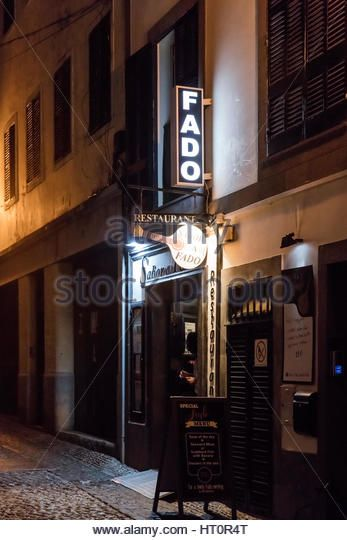 Fado restaurant at night in the Old Town of Funchal, Madeira - Stock Image