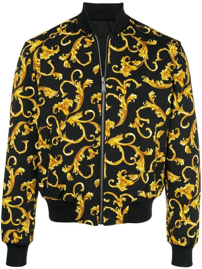 Versace Printed Bomber Jacket Farfetch Printed Bomber Jacket Bomber Jacket Jackets Men Fashion