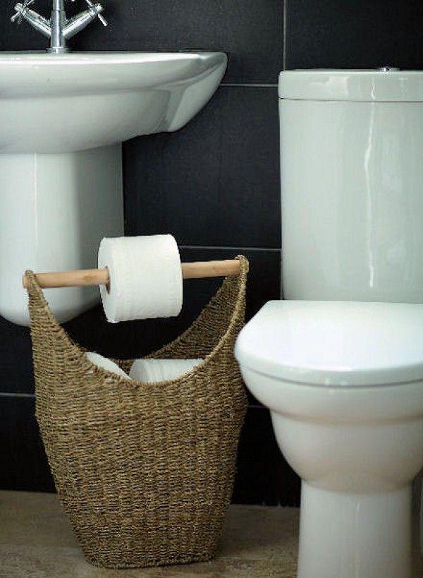 Love the idea for toilet holder basket for rustic bathroom decor @istandarddesign