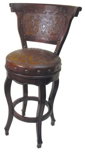 Colonial Spanish Heritage Round Bar Stool With Back And