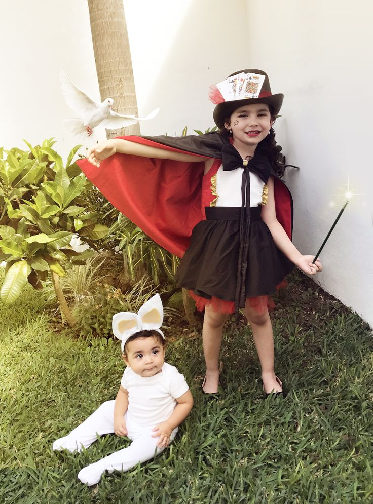 Magician girl costume and baby bunny in the hat brother and sister siblings costumes