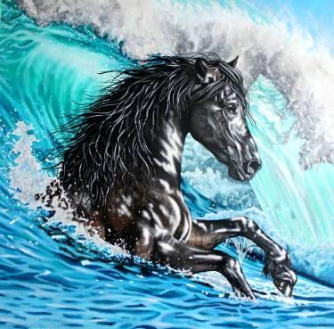 "Saatchi Art Artist Laural Retz; Painting, ""Shetan - The Black Stallion"" #art"