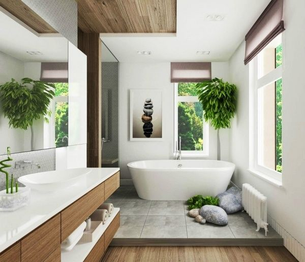 batroom trends 2015 natural materials wood plants decorative rocks