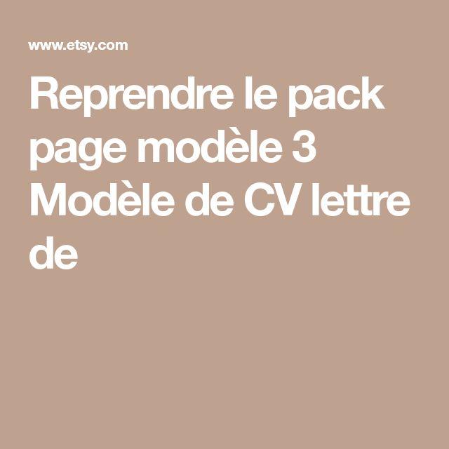 Reprendre le pack page modèle 3 Modèle de CV lettre de
