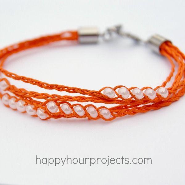 Braided Hemp bracelet tutorial on Happy Hour Projects, via True Blue You & Me