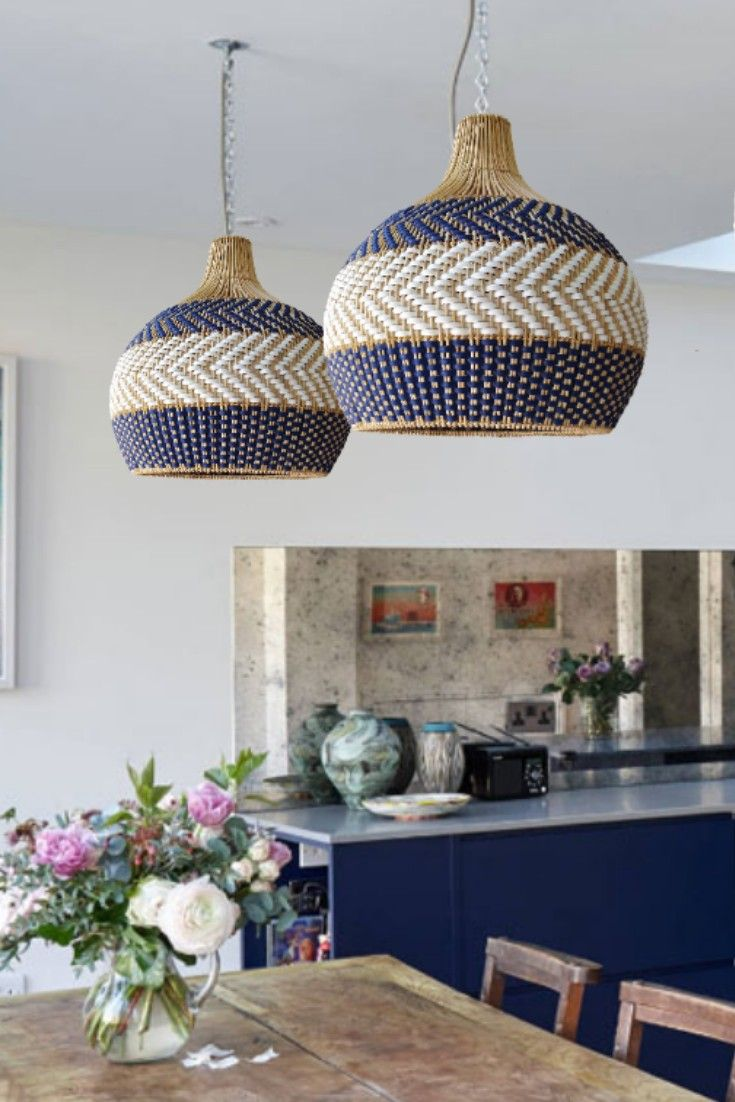 Serena Blue Rattan Pendant Light Etsy In 2020 Decor Rattan Pendant Light Wicker Pendant Light