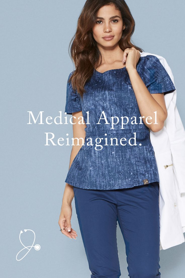 Look and feel your best in premium scrubs. || A unique, denim-inspired print. Our luxe antimicrobial-finished fabric, flattering silhouettes, and signature gold details. The Denim Print is now available in limited quantities in our best-selling styles.
