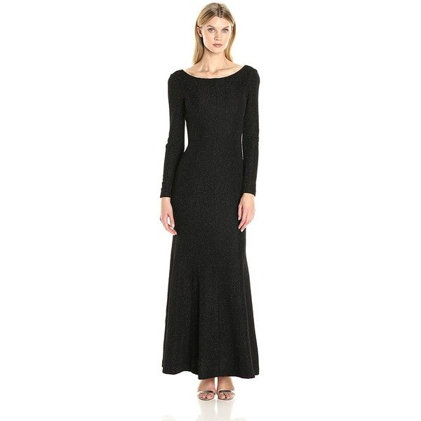 Eliza J Women's Long Sleeve Glitter Gown ($39) ❤ liked on Polyvore featuring dresses, gowns, long evening gowns, eliza j dresses, eliza j gowns, long evening dresses and long dresses