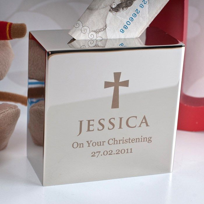Personalised Silver Money Box - Christening | GettingPersonal.co.uk