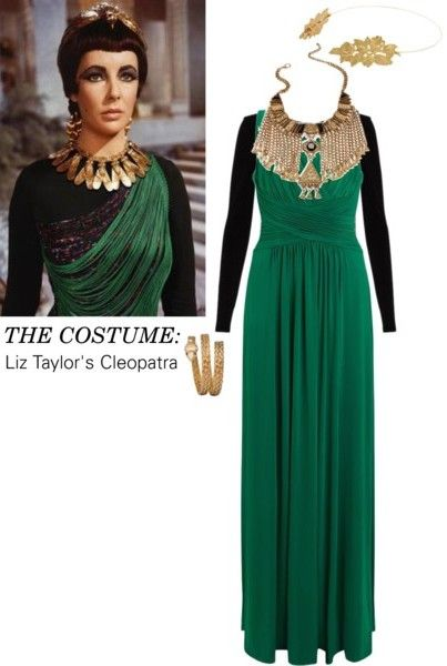 Vintage Halloween Costume: A Cleopatra costume calls for a chunky metallic headdress, regal bib necklace, and serpent-themed jewelry. Beauty-wise, don't forget the blunt bangs and black eyeliner. And to channel Liz Taylor's take on the Egyptian pharaoh, choose a dress in a striking, unexpected shade of emerald green. #DIY