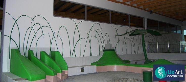 Wandschildering grassen voor zwembad de meerminnen te beveren decoratie bedrijven en - Decoratie pizzeria ...