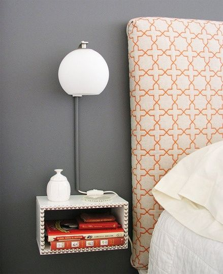 headboard and DIY floating nightstand {cute solution for a tight guest room}