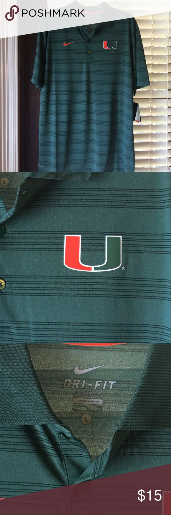 NWT Nike Dri Fit University of Miami polo shirt NWT Nike Dri Fit University of Miami men's polo shirt, Size L.  Retailed in the campus bookstore for $65.  Smoke free home.  Thanks! Nike Shirts Polos