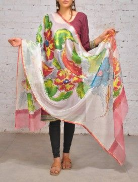 Multi-Color Hand Painted Kota Silk Dupatta