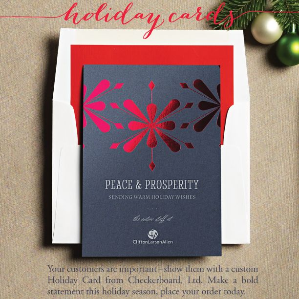 A gleaming geometric snowflake pattern pops in bright red foil on this stunning Moonrock grey flat card. Your personalized message and signature in matte Silver ink completes the powerful effect. Tucked into a crisp white envelope (shown here with an upgraded Grenadine red liner), this card is sure to please all who receive it.
