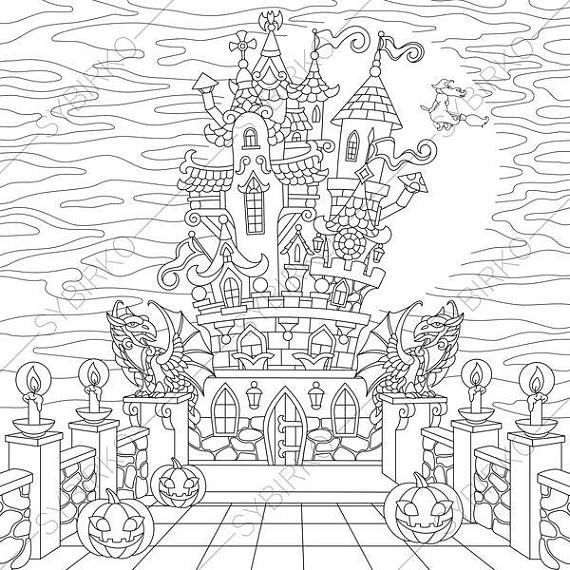 Halloween Spooky Castle 2 Coloring Pages For Happy Halloween Greeting Card Colorin Halloween Coloring Pages Printable Christmas Coloring Pages Coloring Pages