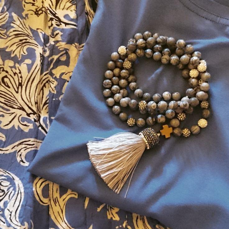 Luxury necklace jaspis beads and hematite with a wonderful tassel