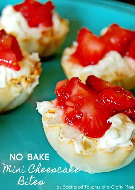 Easy, No Bake Mini Cheesecake Bites.   For the strawberry topping:    2 cups of strawberries, chopped,     1/8 cup of sugar. For the Cheesecake Bites:    1 8 oz package of reduced fat cream cheese, softened,     1/3 cup of sugar,    1 tsp of vanilla,    3/4 cup of cool whip lite,    30 mini fillo shells.
