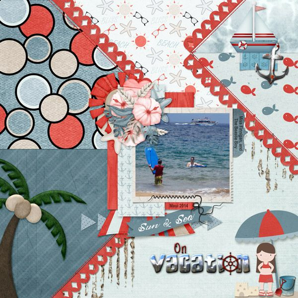 This is for Elizabeth's July 2017 Spotlight The Collab Challenge.  I used Sea... by ScrapBird Designers, and 1 Photo Showcased Template by Meryl Bartho.