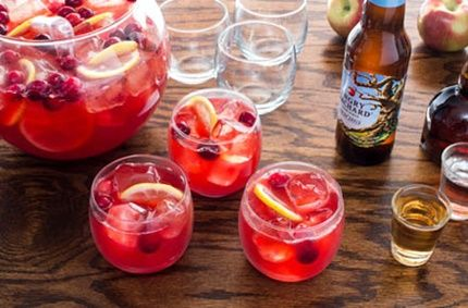 4 bottles Angry Orchard Crisp Apple 8 oz Vodka, Gin, or White Rum 1.5 oz Grand Marnier 3 oz Lemon Juice 6 oz Cranberry Syrup** 3 oz Raspberry Puree (Can also use strawberries)