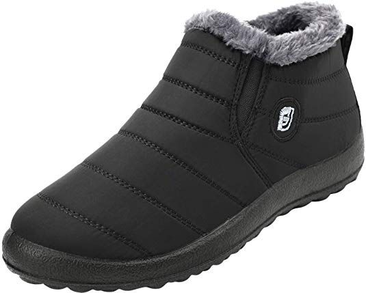 c2804d6b684c FEETCITY Slip on Snow Boots for Men,Anti-Slip Lightweight Ankle Bootie with  Fully