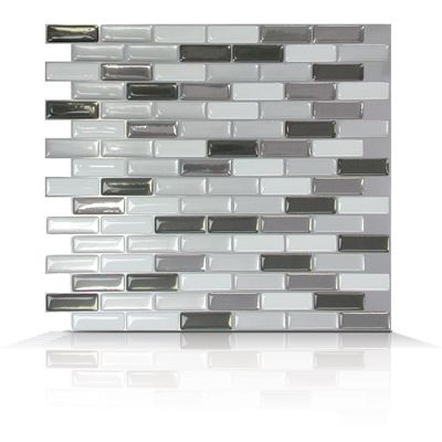 If your kitchen is mostly painted in neutral colors like dark grey or even white, than these murano metalik tiles from our Mosaik collection will fit in nicely with your deco. Like all of our Smart Tiles products, they are made with a unique 3D Gel that reflects lights and gives them a stunning look. Just cut the tiles to the appropriate length, peel and stick and in no time you will have a wonderful new kitchen or bathroom backsplash.