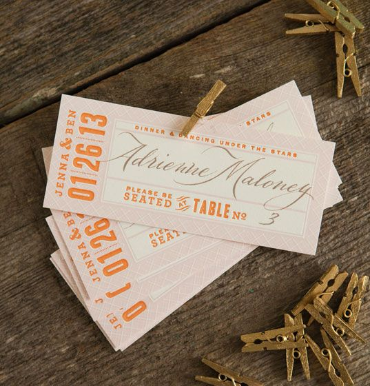 Auburn Letterpress Escort Tickets by Dauphine Press with calligraphy by Georgia Deaver by @Dauphine Press