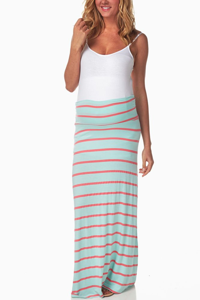 Mint-Green-Coral-Maternity-Maxi-Skirt #maternity #fashion